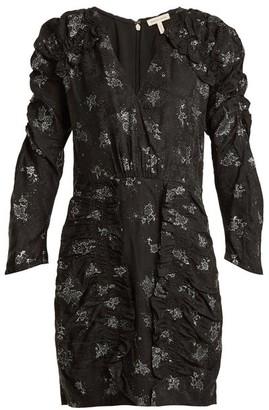 Rebecca Taylor V-neck Ruffle Silk Dress - Black Silver