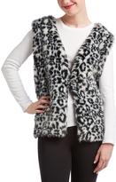 Black & White Leopard-Print Faux Fur Vest