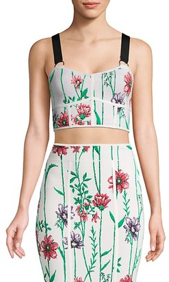 BCBGMAXAZRIA Floral Bustier Cropped Top