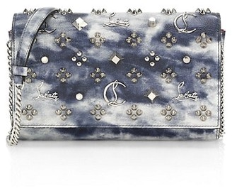 Christian Louboutin Paloma Studded Tie-Dye Leather Clutch