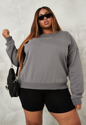 Missguided Plus Size Dark Grey Oversized Sweatshirt