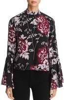 Yumi Kim High Society Bell Sleeve Floral Silk Top