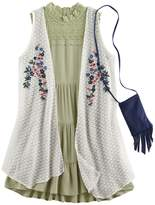 Knitworks Girls 7-16 Floral Embroidered Duster Vest & Lace Highneck Tiered Dress Set with Fringe Crossbody Cell Phone Purse