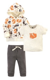 Hudson Baby Baby Toddler Girls and Boys Forest Hoodie, Bodysuit or Tee Top and Pant Set, Pack of 3