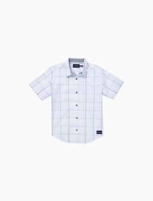 Calvin Klein Boys Windowpane Plaid Short Sleeve Shirt
