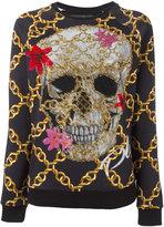 Philipp Plein embellished skull print jumper - women - Cotton - XS