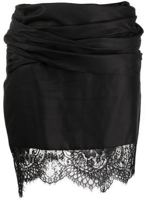 Unravel Project Asymmetric Lace Trim Skirt