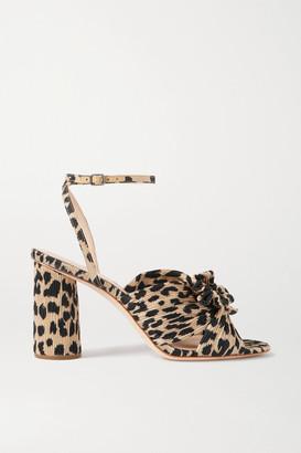 Loeffler Randall Camellia Bow-embellished Leopard-print Plisse Sandals - Leopard print