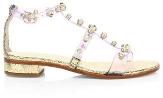 Sophia Webster Dina Gem Embellished Clear Flat Sandals