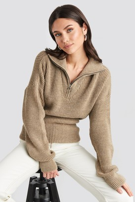 NA-KD Front Zipper Knitted Sweater Beige