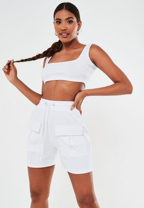 Missguided White Co Ord Rib Scoop Neck Crop Top
