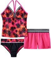 ZeroXposur Girls Plus Size Racerback Palm Tree Tankini Top, Bottoms & Shorts Swimsuit Set
