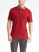 Banana Republic Slim Pique Stripe-Collar Polo