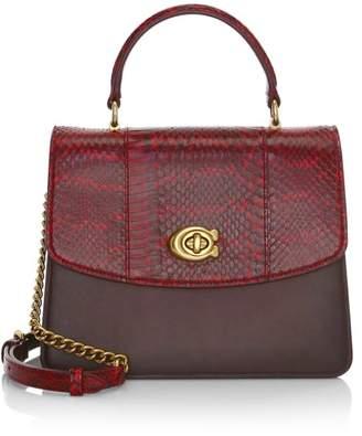 Coach Parker Snakeskin & Leather Top Handle Bag