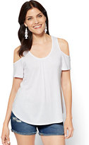 New York & Co. Lace-Inset Cold-Shoulder Top