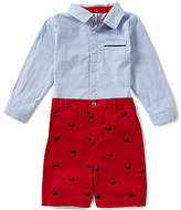 Edgehill Collection Baby Boys Newborn-24 Months Long-sleeve Oxford Shirt & Whale Embroidered Shorts
