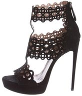 Alaia Leather Laser Cut Sandals