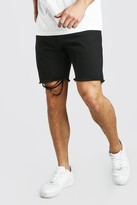 boohoo Mens Black Slim Fit Denim Short With Distressed Raw Hem, Black