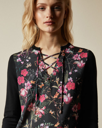 Ted Baker GRACIIY Fern Forest woven front jumper