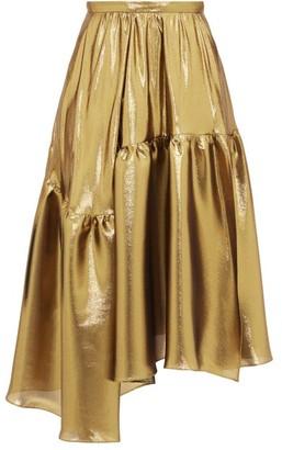 Rochas Asymmetric Tiered Lame Midi Skirt - Womens - Gold