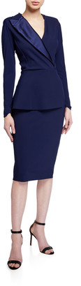 Chiara Boni Satin Lapel Long-Sleeve Peplum Dress
