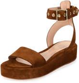 Gianvito Rossi Suede Platform Sandal, Brown