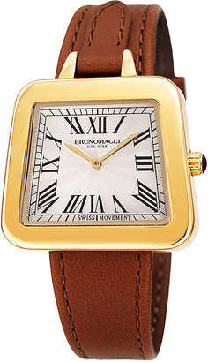 Bruno Magli 34mm Emma 1142 Trapezoid Leather Watch, Brown/Gold