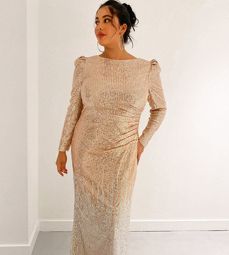 Jaded Rose Plus exclusive ombre sequin maxi dress in gold and silver
