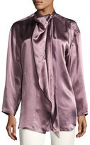 Acne Studios Bodil Satin Tie-Neck Blouse, Purple