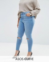 Asos High Waist Ridley Skinny Jeans in Mid Wash with Rips