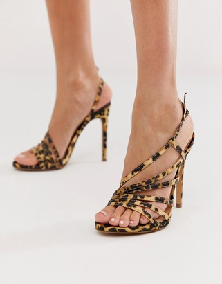 Miss Selfridge strappy heeled sandals in leopard print-Multi
