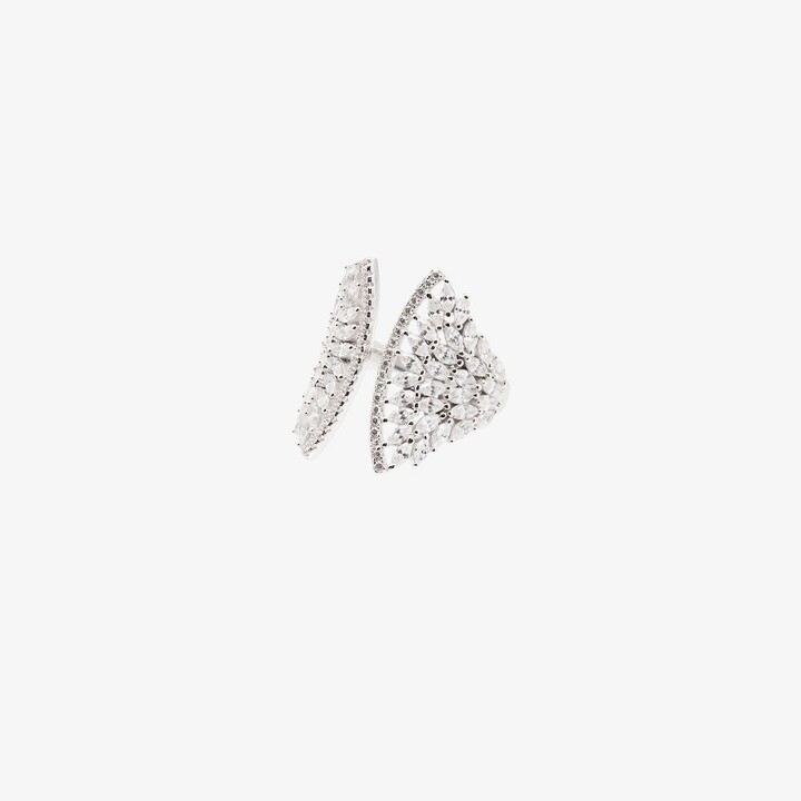Apples & Figs Gold-Plated Crystal Feather Wing Ring
