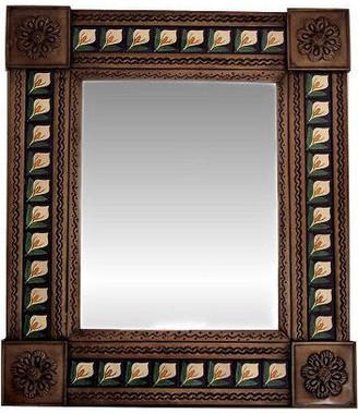 Fine Crafts & Imports Medium Brown Lily Tile Talavera Tin Mirror