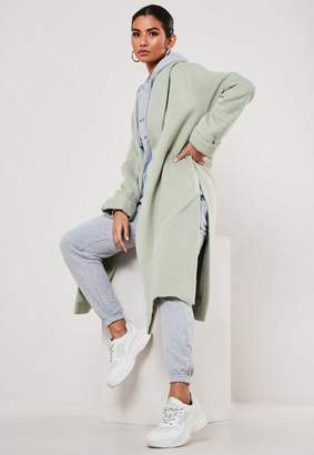 Missguided Green Shawl Collar Side Split Coat