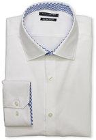 Tailorbyrd White Jacquard Non-Iron Trim Fit Dress Shirt