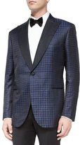 Brioni Exaggerated Houndstooth Dinner Jacket, Navy/Black