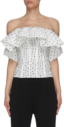 Self-Portrait Polka Dot Mesh Frill Ruffle Corset Top