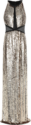 Jenny Packham Paneled Sequined Tulle Gown