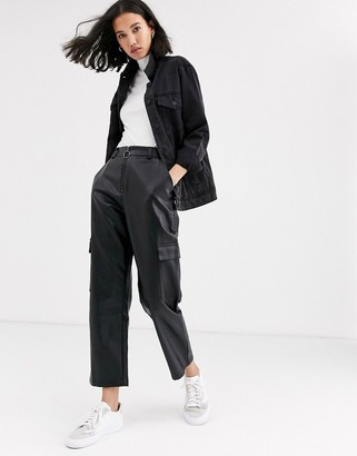 NATIVE YOUTH cargo pants in faux leather co-ord