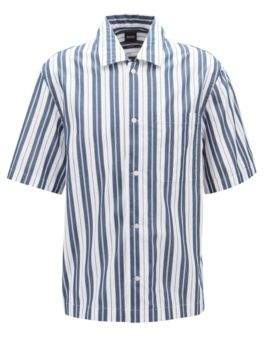 BOSS Relaxed-fit striped shirt with camp collar