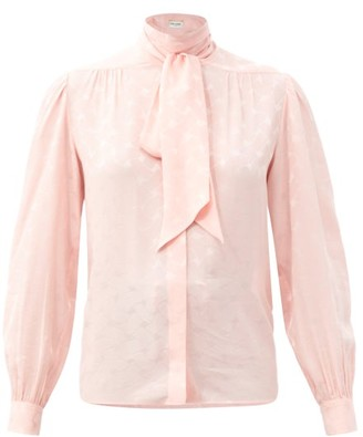 Saint Laurent Pussy-bow Silk-jacquard Blouse - Light Pink