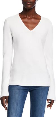 St. John Links Textured V-Neck Sweater w/ Sleeve Slits