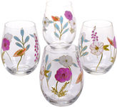 Certified International Rainbow Seeds Set of 4 Hand-Painted Stemless Wine Glasses