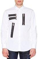 DSQUARED2 Multi-Zipper Detail Long-Sleeve Shirt, White