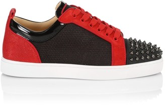 Christian Louboutin Louis Junior Two-Tone Spikes Low-Top Sneakers