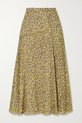 Theory Leopard-print Silk-crepon Midi Skirt - Tan