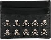 Philipp Plein card holder with skull appliqués - men - Calf Leather - One Size
