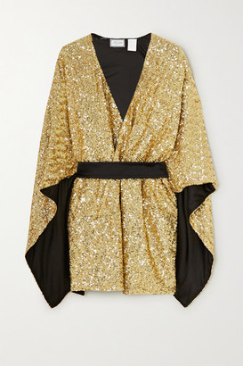 Redemption Belted Sequined Cady Kaftan - Gold