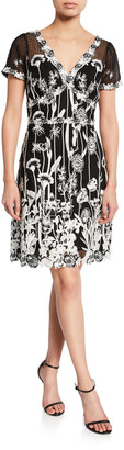 Marchesa V-Neck Cap-Sleeve Embroidered Guipure Lace Dress
