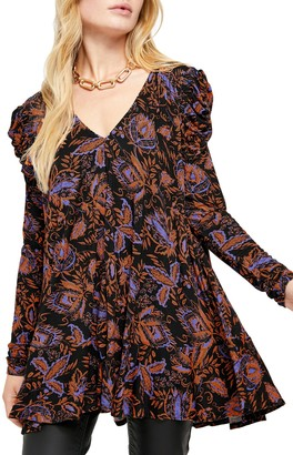 Free People Hello Lover Ruched Sleeve Tunic Top